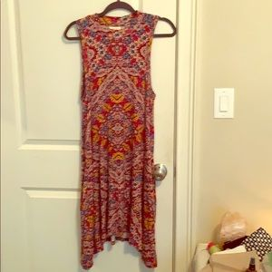 Maroon boho kaleidoscope mock neck dress